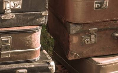 Discarded old suitcases